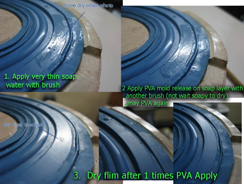 how to apply PVA mold release to adhere and perfect coat on silicone surface